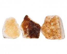 1.90kg Citrine Polished Crystal Geode Specimen Set 3 Pieces DN216