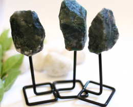 Three Moss Agate mineral stands  AHA 1047
