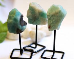Three Amazonite mineral stands  AHA 1051