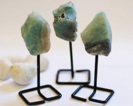 Three  Amazonite mineral stands  AHA 1052