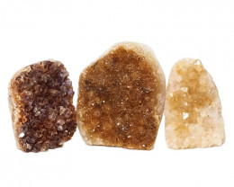 1.78kg Citrine Polished Crystal Geode Specimen Set 3 Pieces DN219