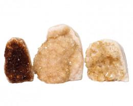 2.08kg Citrine Polished Crystal Geode Specimen Set 3 Pieces DN220