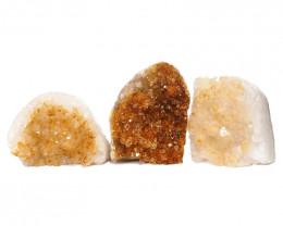 1.94kg Citrine Polished Crystal Geode Specimen Set 3 Pieces DN221