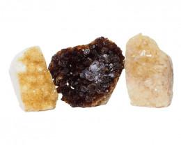 1.75kg Citrine Polished Crystal Geode Specimen Set 3 Pieces DN222