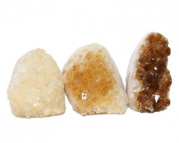 2.06kg Citrine Polished Crystal Geode Specimen Set 3 Pieces DN223