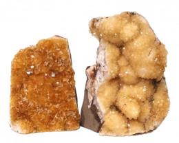 1.97kg Citrine Crystal Geode Specimen Set 2 Pieces DN228