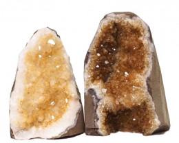 1.92kg Citrine Crystal Geode Specimen Set 2 Pieces DN230