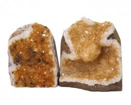 1.61kg Citrine Crystal Geode Specimen Set 2 Pieces DN234