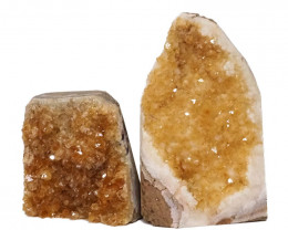 1.88kg Citrine Crystal Geode Specimen Set 2 Pieces DN235