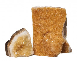 1.78kg Citrine Crystal Geode Specimen Set 2 Pieces DN236