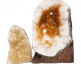 1.85kg Citrine Crystal Geode Specimen Set 2 Pieces DN239