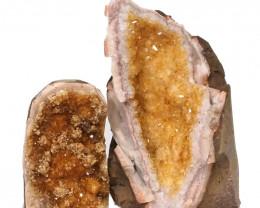1.78kg Citrine Crystal Geode Specimen Set 2 Pieces DN242