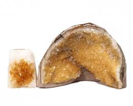 2.20kg Citrine Crystal Geode Specimen Set 2 Pieces DN243