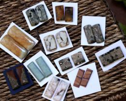 11 Pairs Rectangular Jasper Gemstones CCC 1254
