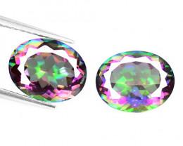 *NoReserve*Mystic Topaz 4.83 Cts 2Pcs Rare Aurora Borealis Color Natural