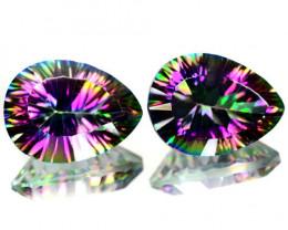 *NoReserve*Mystic Topaz 8.09 Cts 2Pcs Paired Aurora Borealis Color Natural