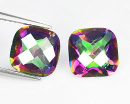 *NoReserve*Mystic Topaz 3.59 Cts 2 Pcs Rare Aurora Borealis Color Natural