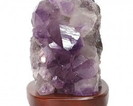 3.54kg Natural Amethyst Crystal Lamp with Timber Base DN256