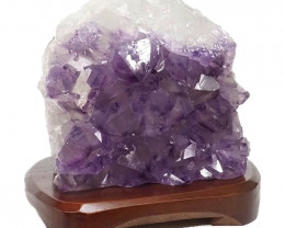 3.44kg Natural Amethyst Crystal Lamp with Timber Base DN259