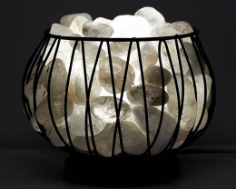 Clear Quartz Tumbled Crystal Gemstones Amore Lamp - White LED Bulb