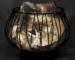 Smoky Quartz Rough Amore Lamp - White LED Bulb