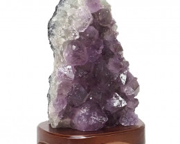 2.78kg Natural Amethyst Crystal Lamp with Timber Base DN281