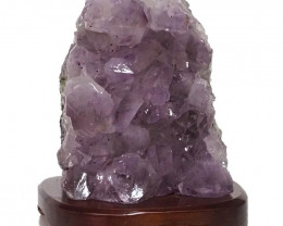 2.97kg Natural Amethyst Crystal Lamp with Timber Base DN285