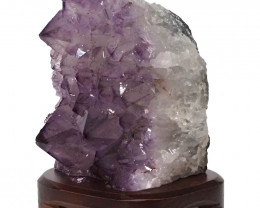 3.22kg Natural Amethyst Crystal Lamp with Timber Base DN286