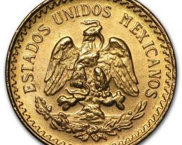 1945 Mexican Gold  Coin 2 1/2 Pesos AGW .603