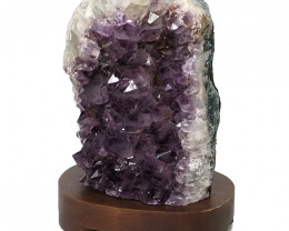 2.69kg Natural Amethyst Crystal Lamp with Timber Base DN312