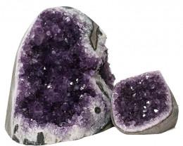 3.18kg Amethyst Polished Crystal Geode Specimen Set 2 Pieces DN337