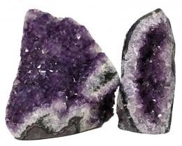 3.25kg Amethyst Polished Crystal Geode Specimen Set 2 Pieces DN340