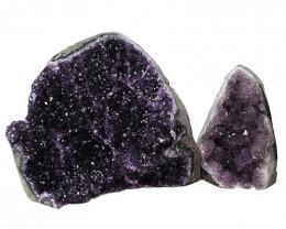 3.61kg Amethyst Polished Crystal Geode Specimen Set 2 Pieces DN341