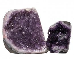 2.58kg Amethyst Polished Crystal Geode Specimen Set 2 Pieces DN342