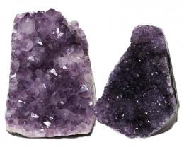 3.28kg Amethyst Polished Crystal Geode Specimen Set 2 Pieces DN345