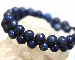Dual 8mm lapis lazuli bracelet code AHA 1563