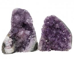 2.15kg Amethyst Polished Crystal Geode Specimen Set 2 Pieces DN347
