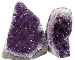 3.56kg Amethyst Polished Crystal Geode Specimen Set 2 Pieces DN349