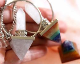 Wholesale 3 Chakra Pyramid  gemstones pendants  AHA 1580