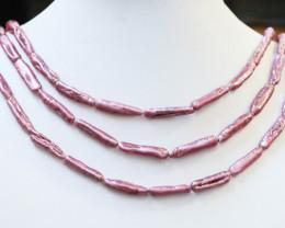 Three  Purple/Pink Baby Biwa  Stick Long Drill Pearl strands GOGO1010