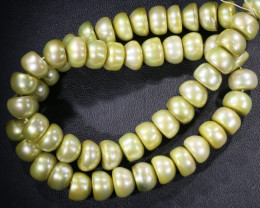Pistacho Large Button Natural Pearl strands GOGO 857