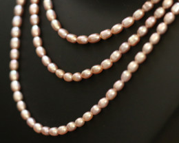 Set of 3 Oval Natural Pink luster Pearl strand. GOGO 1308