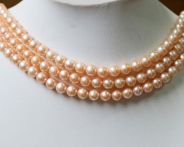 Thee  7 MM Apricot -Pink Natural Round Pearl strands GOGO 823