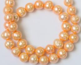 Single  10 MM Apricot Baroque Natural color Pearl strands GOGO 1234