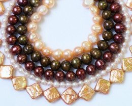 Five Exotic Mixed Pearl strands GOGO 1193