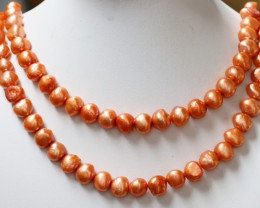 Two Orange  10 mm Baroque Pearl strands GOGO 1155