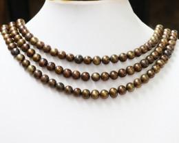 Three Chocolate  7 mm Semi Round Pearl strands GOGO 1183