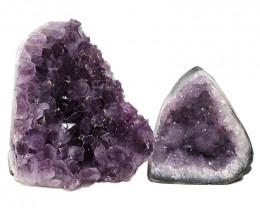 3.56kg Amethyst Polished Crystal Geode Specimen Set 2 Pieces DN352