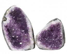 3.22kg Amethyst Polished Crystal Geode Specimen Set 2 Pieces DN353