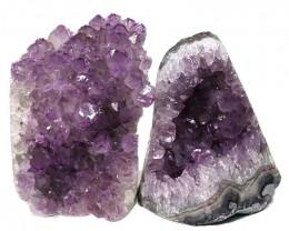 3.08kg Amethyst Polished Crystal Geode Specimen Set 2 Pieces DN354